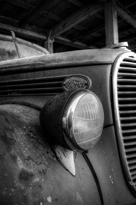 Photograph - Old Ford Fire Truck In Black And White by Greg and Chrystal Mimbs