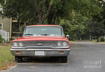Main Street Photograph - Old Ford Galaxy In The Rain by Edward Fielding