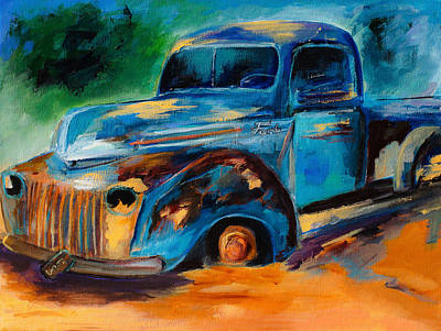 Rusted Cars Painting - Old Ford In The Back Of The Field by Elise Palmigiani