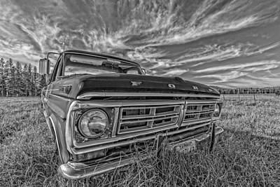 Photograph - Old Ford Truck Black And White by James Hammond