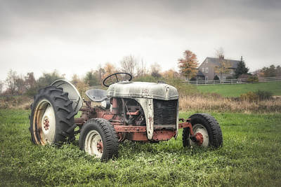 Autumn Landscape Digital Art - Old Ford Tractor And Farm House by Gary Heller