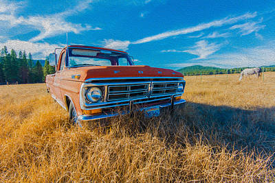 Photograph - Old Ford Truck -faux Oil by James Hammond