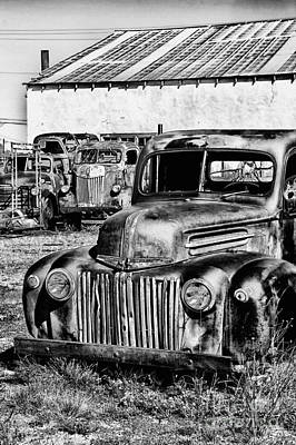 Photograph - Old Ford Truck Monochrome by Jim McCain