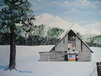 Old Barns Painting - Old Forgotten But Still Proud by Norm Starks
