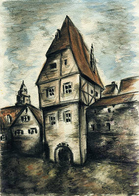 Drawing - Old Framework House - Pencil by Peter Potter