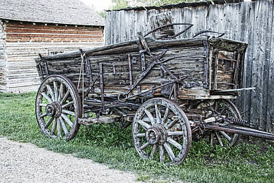 Conestoga Photograph - Old Freight Wagon - Montana Territory by Daniel Hagerman