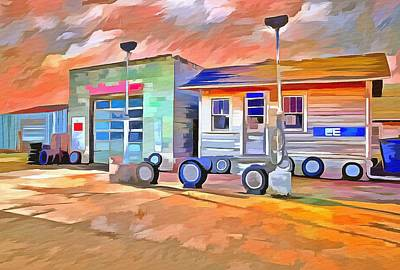 Service Station Painting - Old Gas Station  by L Wright