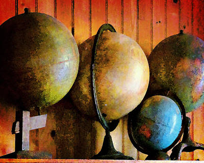 Photograph - Old Globes by Timothy Bulone