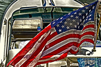 Boats Photograph - Old Glory And The Bay by Tom Gari Gallery-Three-Photography