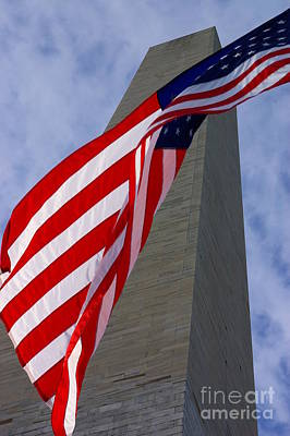 Photograph - Old Glory And The Washington Monument by John S