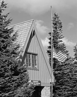 Old Glory At Paradise Ranger Station Bw Art Print by Connie Fox