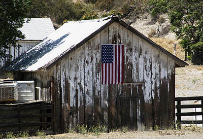 Old Tool Shed Photograph - Old Glory Barn by Barbara Snyder