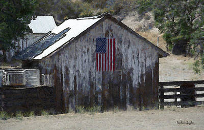 Rustic Photograph - Old Glory Barn Digital by Barbara Snyder