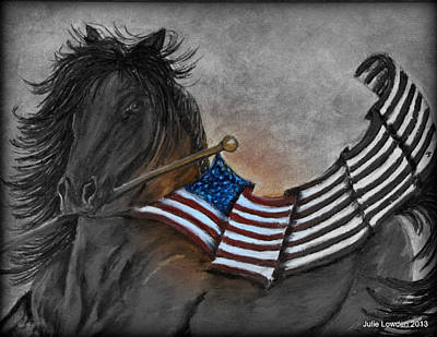 Old Glory Black And White Art Print by Julie Lowden