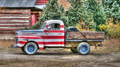 Photograph - Old Glory Ford Pickup by Harold Rau