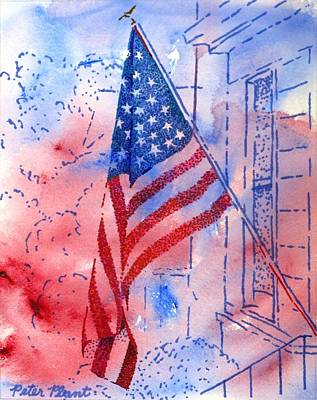 Independence Day Flag Mixed Media - Old Glory In The Neighborhood by Peter Plant