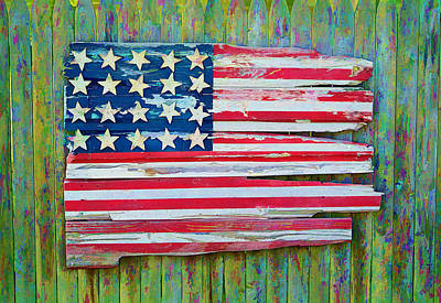 Photograph - Old Glory In Wood Impression by Jack Daulton