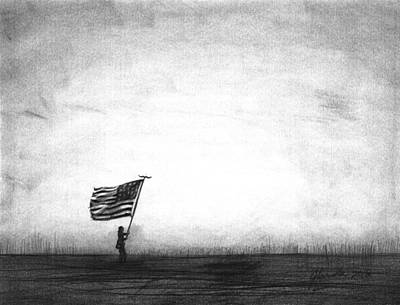 Old Glory Drawing - Old Glory by J Ferwerda