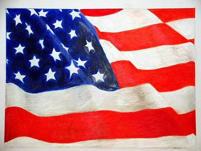 Star Spangled Banner Drawing - Old Glory by Kendrick Roy