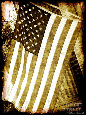 Photograph - Old Glory Sepia Rustic by Debbie Portwood
