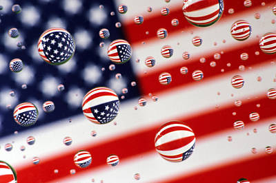 Photograph - Old Glory Water Drops by Jack Daulton