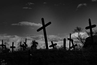 Photograph - Old Graveyard At Dusk by Nadalyn Larsen