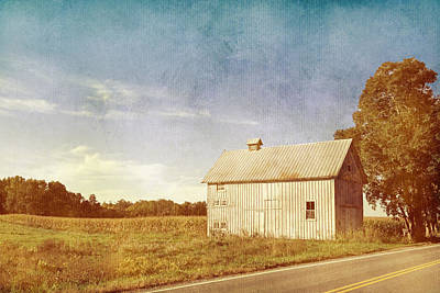 Barn Photograph - Old Gray Barn In The Country With Blue Sky by Brooke T Ryan