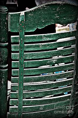 Ladder Back Chairs Photograph - Old Green Chair by JW Hanley