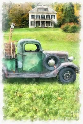 Autumn Landscape Photograph - Old Green Pickup Truck by Edward Fielding