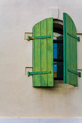 Photograph - Old Green Shuttered Window by James Hammond