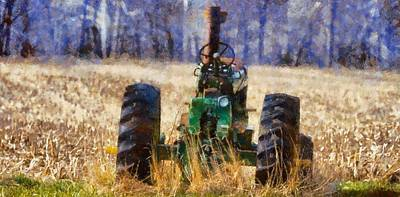 Old Green Tractor On The Farm Original