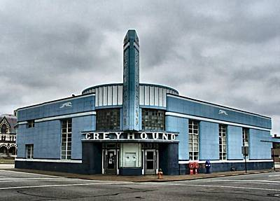 Old Greyhound Bus Terminal  Art Print by Julie Dant