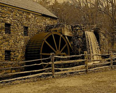Photograph - Wayside Inn Old Grist Mill In Sepia 2 by Michael Saunders