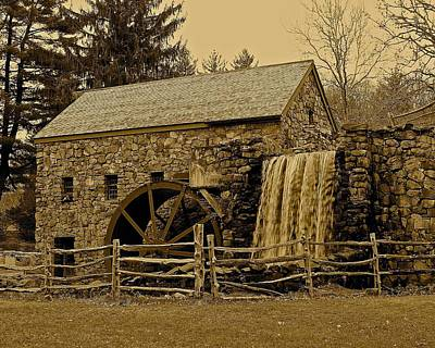 Photograph - Wayside Inn Old Grist Mill In Sepia by Michael Saunders