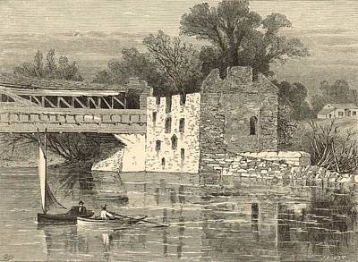 Grist Mill Painting - Old Grist-mill Of The Revolution 1872 Engraving By John Karst by Antique Engravings