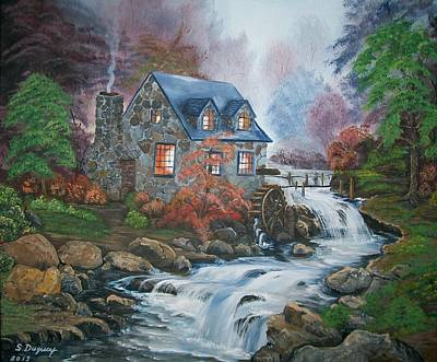 Landmarks Painting Royalty Free Images - Old Grist Mill Royalty-Free Image by Sharon Duguay