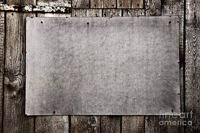 Construction Photograph - Old Grunge Plywood Board On A Wooden Wall by Michal Bednarek