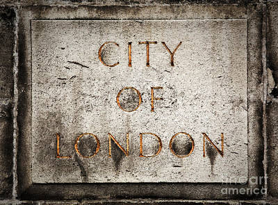 Text Photograph - Old Grunge Stone Board With City Of London Text by Michal Bednarek