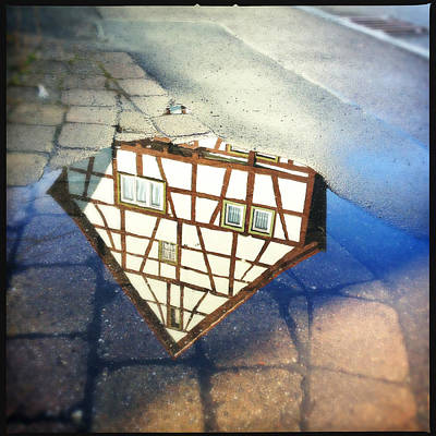 House Photograph - Old Half-timber House Upside Down - Water Reflection by Matthias Hauser