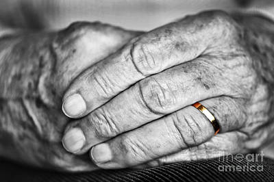 Old Hands With Wedding Band Art Print by Elena Elisseeva