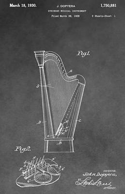 Player Drawing - Old Harp Patent by Dan Sproul