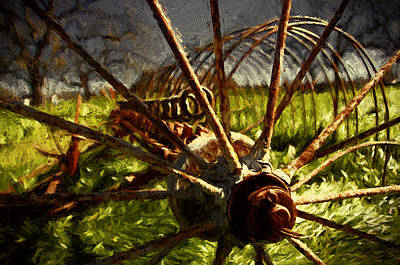 Old Hay Rake Art Print by John K Woodruff
