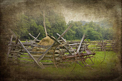 Split Rail Fence Photograph - Old Hay Rake On A Farm by Randall Nyhof