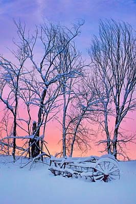 Antique Hay Rake Photograph - Old Hayrake - Winter Sunset by Nikolyn McDonald