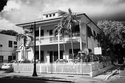 Old Historic Wooden Two Storey Building With White Picket Fence Key West Florida Usa Art Print by Joe Fox