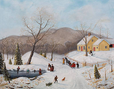 Painting - Old Homestead In Winter by Joseph Holodook