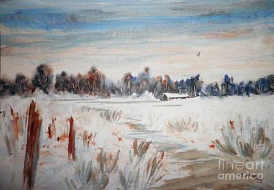 Old Homestead In Winter Art Print
