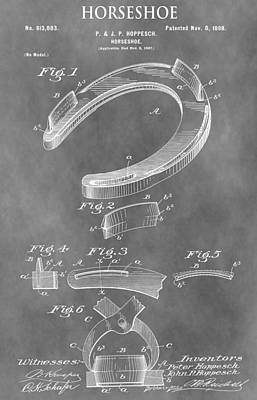 Horse Racing Mixed Media - Old Horseshoe Patent by Dan Sproul