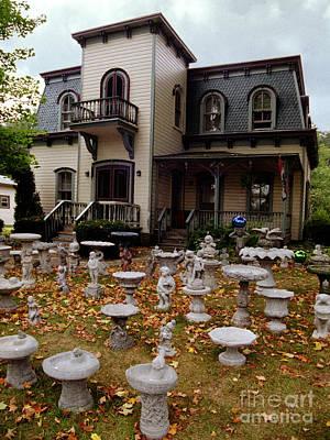 Photograph - Old House And Bird Baths  by Tom Brickhouse