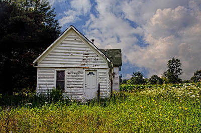 Old House And Flowers Art Print by Cheryl Cencich